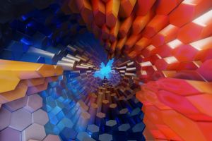 colorful hexagon tunnel abstract