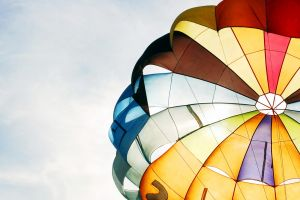 colorful parachutes sky