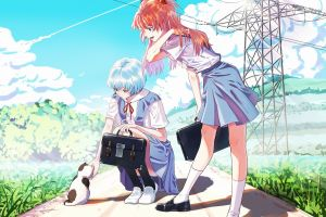 colorful redhead anime girls neon genesis evangelion anime ayanami rei asuka langley soryu school uniform cats ponytail