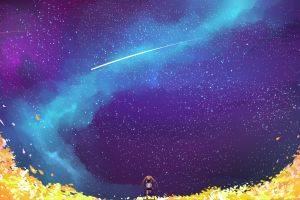 colorful stars sky nature anime anime girls
