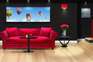 couch room interior table hot air balloons picture frames