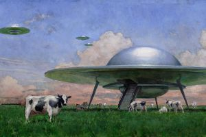 cow oil painting animals nature ufo clouds fantasy art grass painting artwork aliens john brosio