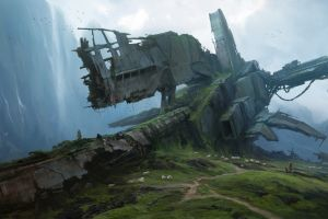 crash ruins spaceship sheep overgrown mountains