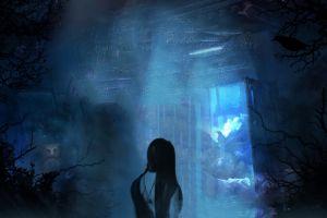 creepy room blue owl dark horror glitter