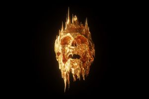 crown billelis skull minimalism black background gold simple background