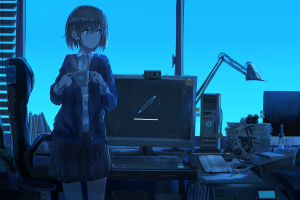 cup anime girls blue office