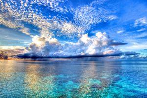 cyan clouds horizon sea sky landscape beach nature water lake plants