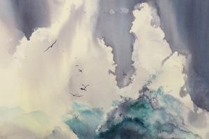cyan white flying water clouds splashes artwork nature birds traditional art watercolor