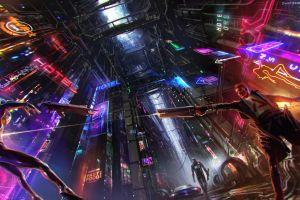 cyberpunk digital art artwork science fiction futuristic neon lights men futuristic city neon concept art