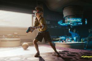 cyberpunk digital art video games cyberpunk 2077 virtual reality headset virtual reality children science fiction