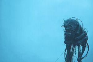 cyberpunk simple robot robots apocalyptic simple background simon stålenhag digital painting blue background clear sky science fiction