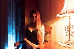 dana bounty long hair model women indoors igor marushevskii  women lamp