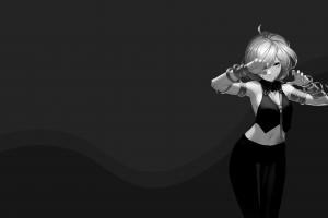 dark anime girls minimalism