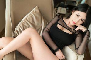 dark eyes dark hair legs women asian women indoors lipstick
