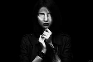 dark face horror monochrome women photo manipulation