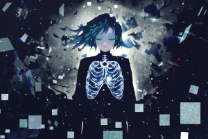 dark hair dark anime girls anime closed eyes
