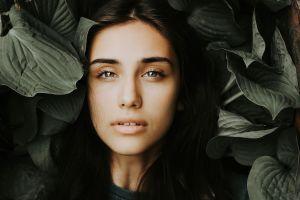 dark hair face leaves women outdoors plants portrait women