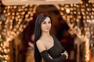 dark hair long hair smiling model women makeup