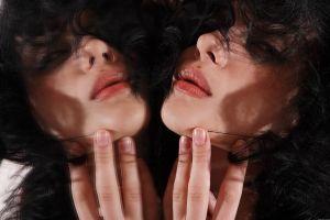 dark hair mirror model women looking at viewer metart magazine lips reflection katie fey lipstick curly hair met-art