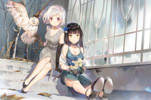 dark hair owl boobs flower in hair legs together animals anime girls anime red eyes