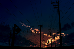 dark utility pole railroad track shadow clouds moescape night dusk natural light anime blue landscape