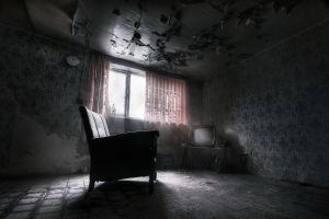 dark window chair ruin