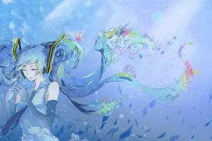 deep sea hatsune miku ribbon butterflies sea