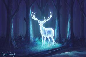 deer forest digital art blue fantasy art neon