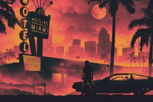 delorean retro style miami dmc delorean shadow hotline miami old car palm trees dusk cityscape hotel pink