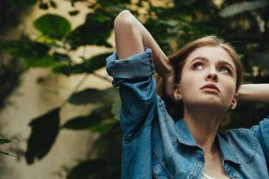 denim shirt face women portrait women outdoors