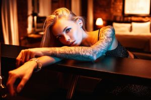 depth of field blonde model vlad popov looking at viewer bracelets tattoo bokeh women sasha skazka inked girls women indoors indoors earring portrait