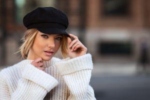 depth of field david mas pink lipstick eyeliner coats women blonde women outdoors