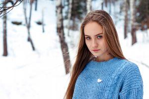depth of field long hair blonde blue eyes women women outdoors looking at viewer portrait snow sweater blue sweater model trees