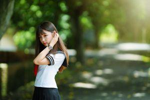 depth of field looking away women outdoors brunette watch sailor uniform portrait schoolgirl women asian