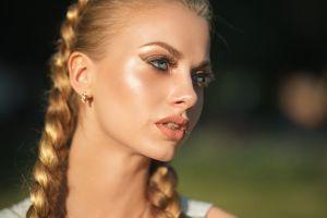 depth of field model dmitry sn blonde women face blue eyes karina tikhonovskaya braids karina dmitry shulgin