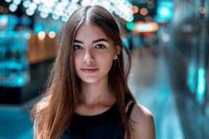 depth of field portrait brunette urban face cyan looking at viewer women outdoors