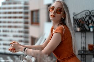 depth of field women balcony red nails andreas-joachim lins model silver hair looking at viewer women with shades portrait