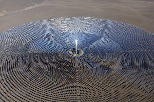 desert power plant solar power aerial view technology