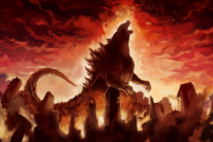 destruction godzilla city artwork