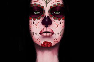 dia de los muertos skull artwork women face