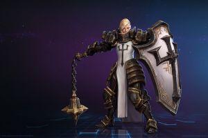 diablo 3: reaper of souls blonde women purple background crusader (diablo) mr jack (luke mancini) shield armor mace