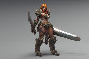 diablo iii women redhead barbarian fantasy girl diablo 3: reaper of souls video games simple background sword green eyes long hair render gray background tattoo armor