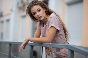 diana face women outdoors bokeh eyeshadow balcony brunette dmitry shulgin portrait long hair blue eyes women