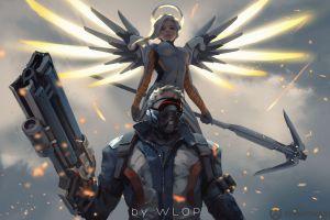 digital art anime girls wlop science fiction futuristic artwork
