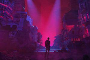 digital art artwork building neon dystopian