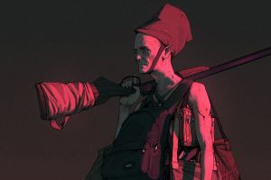 digital art artwork wouter gort backpack concept art gun simple background men
