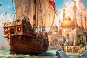 digital art coat of arms mosque crowds fantasy art sailing ship video games seagulls anno 1404 dolphin