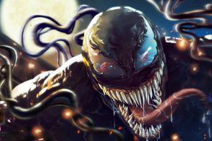 digital art creature tongue out teeth venom