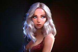 digital art fan art concept art dark background face portrait artwork women dark fantasy art blonde