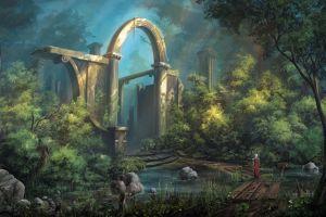 digital art fantasy art warrior castle sword landscape forest